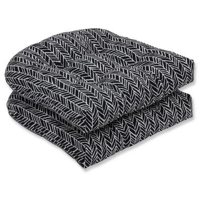 Outdoor/Indoor Herringbone Black Wicker Seat Cushion Set of 2 - Pillow Perfect