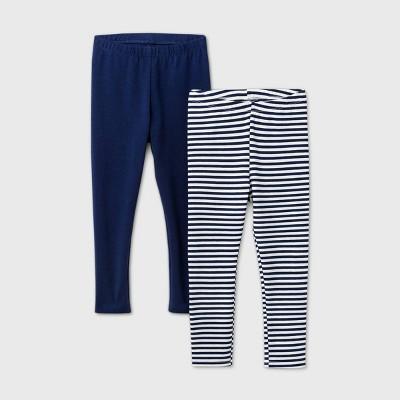 Toddler Girls' 2pk Striped Solid Leggings - Cat & Jack™ Navy