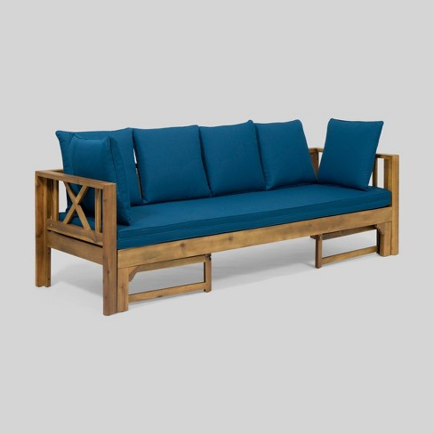 Long Beach Acacia Wood Extendable Patio Daybed Sofa Teak Christopher Knight Home Target