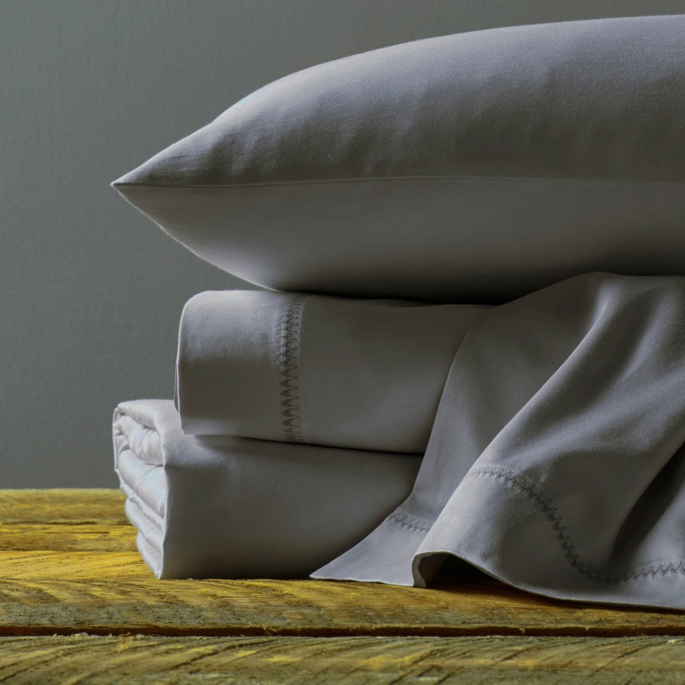 Queen 320 Thread Count Cotton Sheet Set Dark Gray Usa Pima