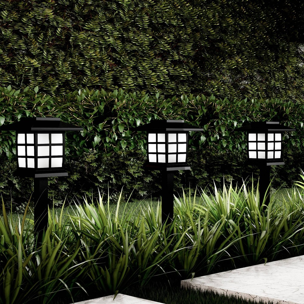 """6pk 15"""" Water Resistant LED Solar Path Coach Outdoor Stake Lights - Pure Garden, Black"""