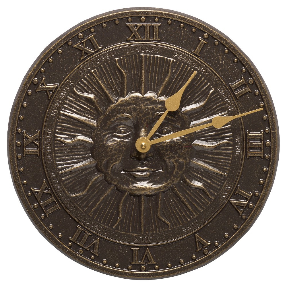 "Image of ""12"""" Aluminum Sunface Outdoor Clock - Brown - Whitehall Products"""