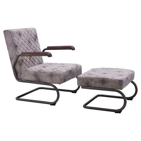 Distressed Upholstered and Dark Steel Lounge Chair Set - White - ZM Home - image 1 of 4