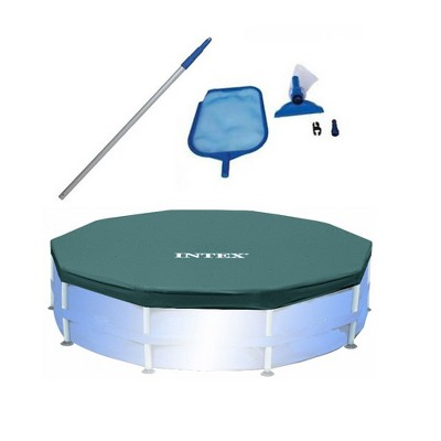 Intex Swimming Pool Maintenance Kit with Vacuum and Pole & 10' Round Pool Cover