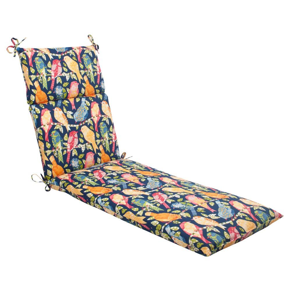Outdoor Chaise Lounge Cushion - Blue/Orange Birds, Blu/Org Bds