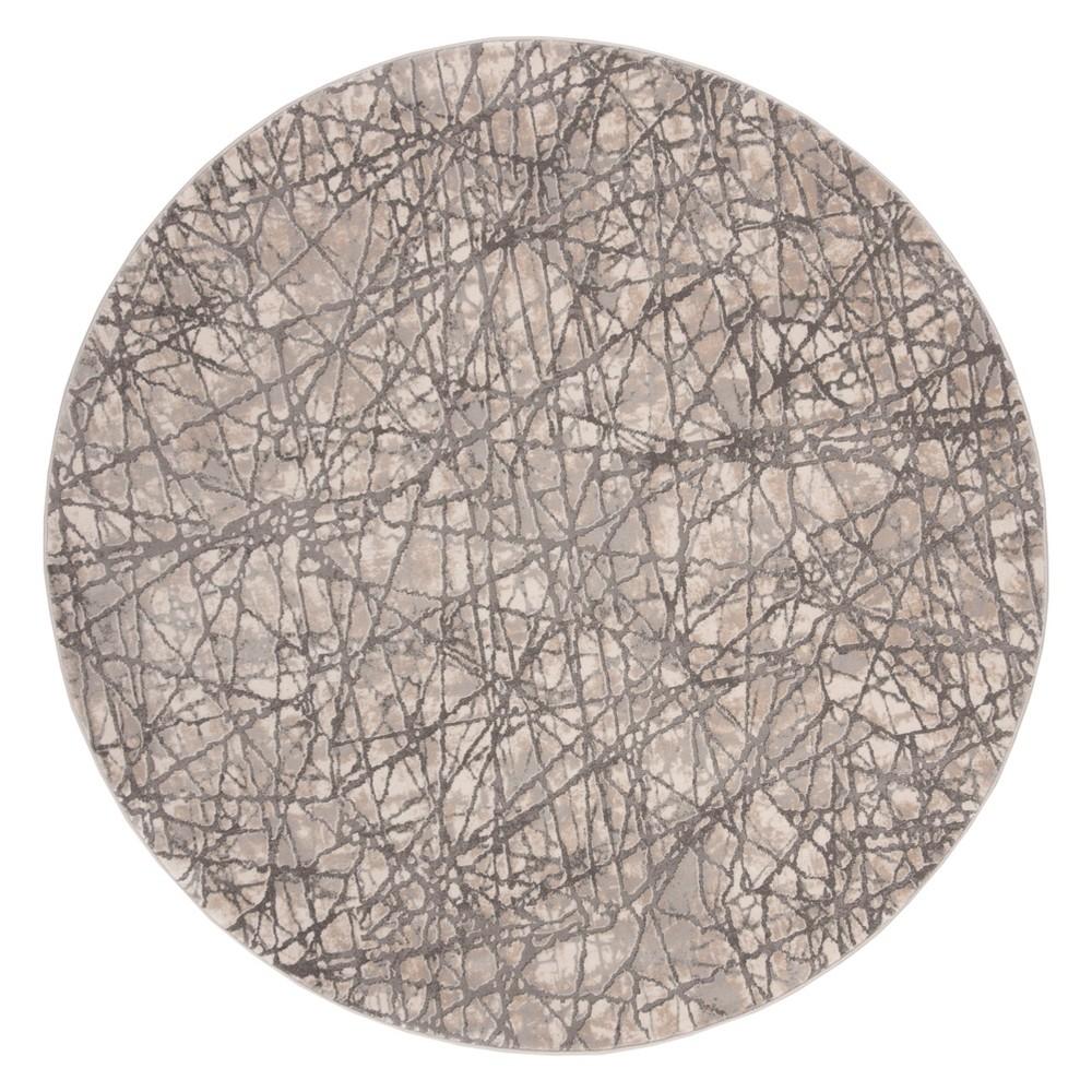 6'7 Solid Round Area Rug Beige/Gray - Safavieh