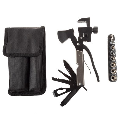 Multipurpose Axe, Hammer, and Knife Tool, 20-in-1 Portable Camping and Emergency Survival Mini Lightweight Folding Hatchet by Leisure Sports