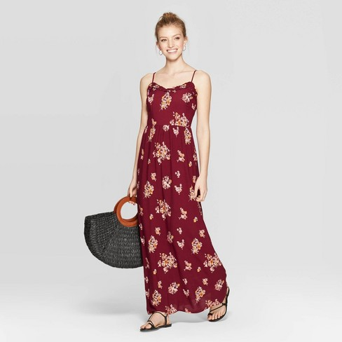 Women's Floral Print Sleeveless Smocked Top Dress - Xhilaration™ Red - image 1 of 2