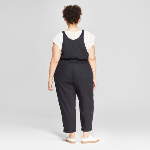 Womens Plus Size Belted Overalls Universal Thread Charcoal Target