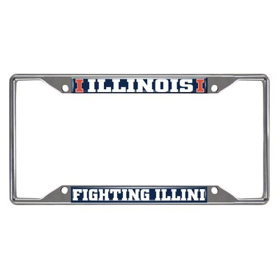 NCAA Illinois Fighting Illini Stainless Steel License Plate Frame