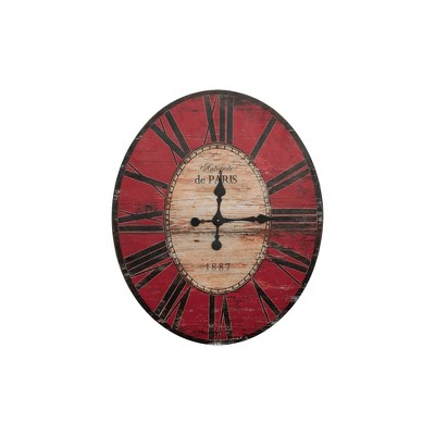 "29"" Oval Distressed Wood Wall Clock Red - 3R Studios"