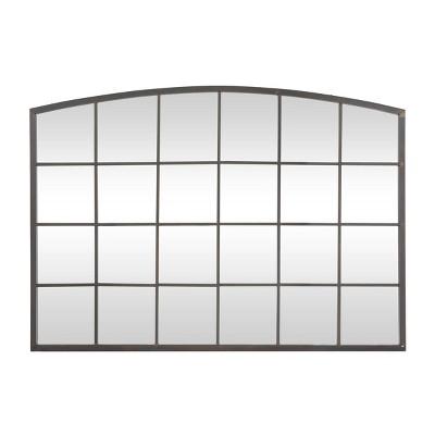 Industrial Metal Rectangle Decorative Wall Mirror Black - Olivia & May