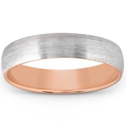 Pompeii3 Brushed Rose Gold Two Tone Mens 5MM Dome Wedding Band Plain Polished Ring 10k - image 1 of 3