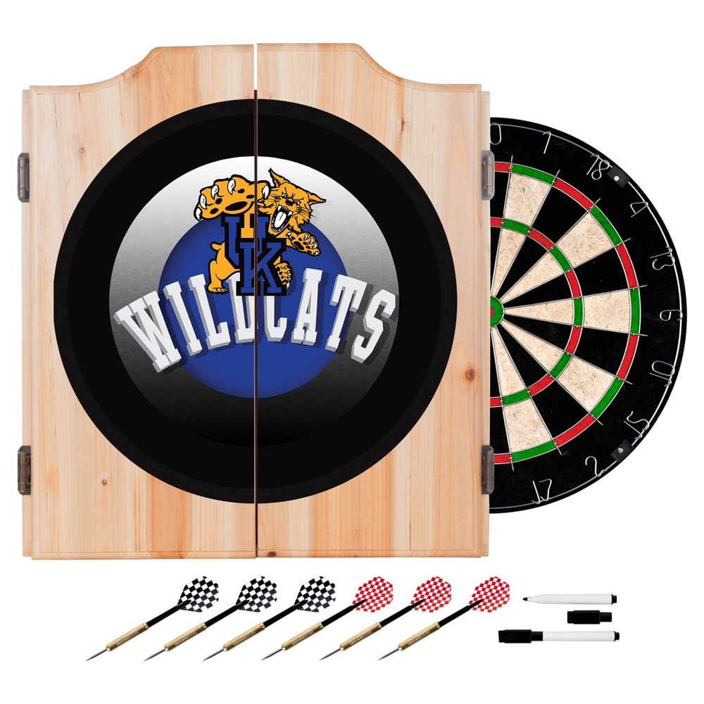NCAA Kentucky Wildcats Wood Dart Cabinet Set - Honeycomb