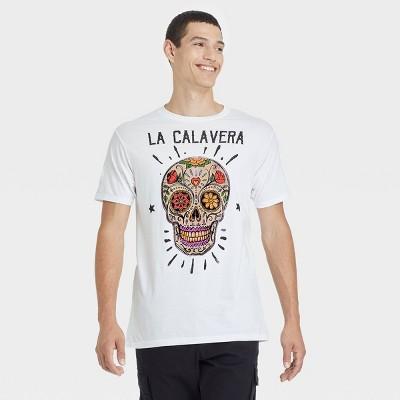 Men's La Calavera Skull Short Sleeve Graphic T-Shirt - White