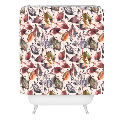 Autumn Leaves Shower Curtain Green - Deny Designs