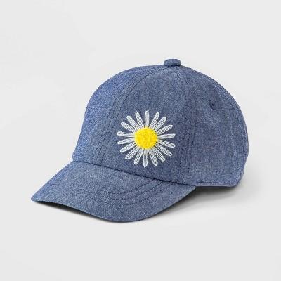 Toddler Girls' Flower Denim Baseball Hat - Cat & Jack™ Blue