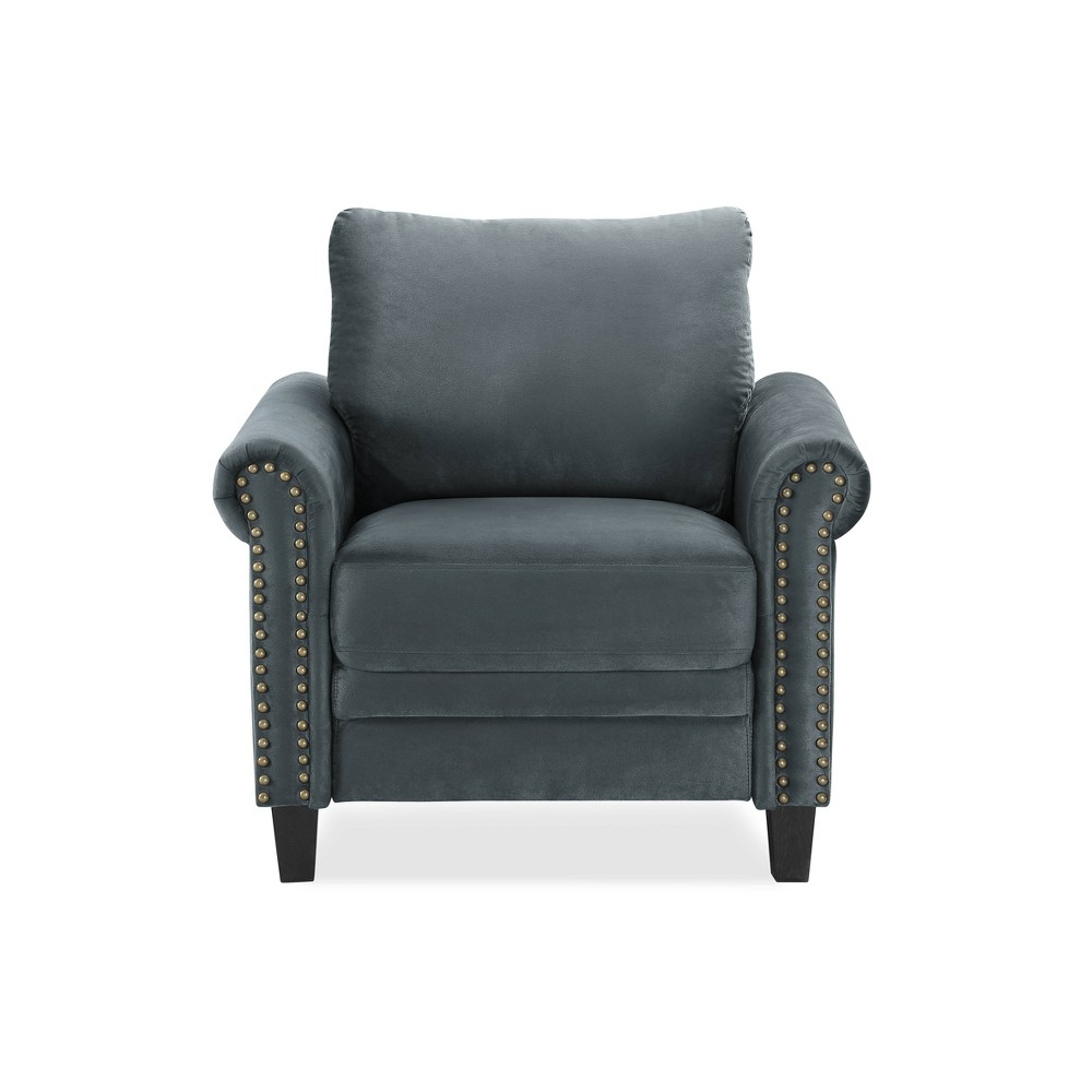Image of Ashley Microfiber Upholstery Armchair with Nailhead Trimming Dark Gray - Lifestyle Solutions