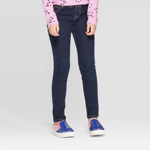 Girls' Pull-On Skinny Jeans - Cat & Jack™ Dark Wash - image 1 of 3