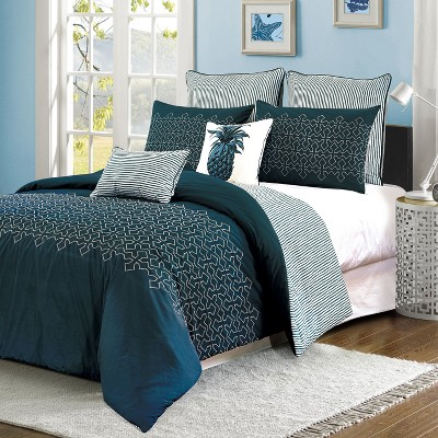 Navy Meadow Lane Embroidered Geometric Comforter Set (Queen)7 Piece - Style Quarters