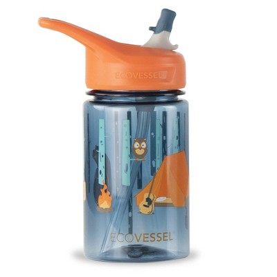 EcoVessel 12oz BPA-Free Reusable Plastic Kids' Water Bottle with Straw - Camping