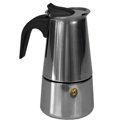 Home Basics 4 Cup Demitasse Shot Stainless Steel Stovetop Espresso Maker, Silver