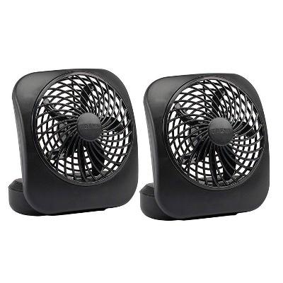 """Treva 5"""" Battery Powered Desk Fan 2pk - Black"""