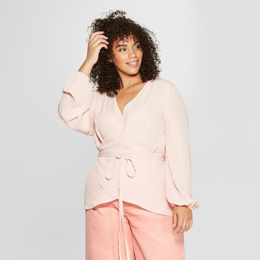 Women's Plus Size Long Sleeve Silky Wrap Top - Who What Wear Light Pink 4X