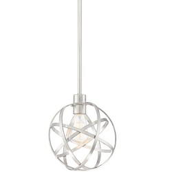 "Franklin Iron Works Brushed Nickel Cage Mini Pendant Light 8 1/2"" Wide Modern Industrial Orb Fixture Kitchen Island Dining Room"