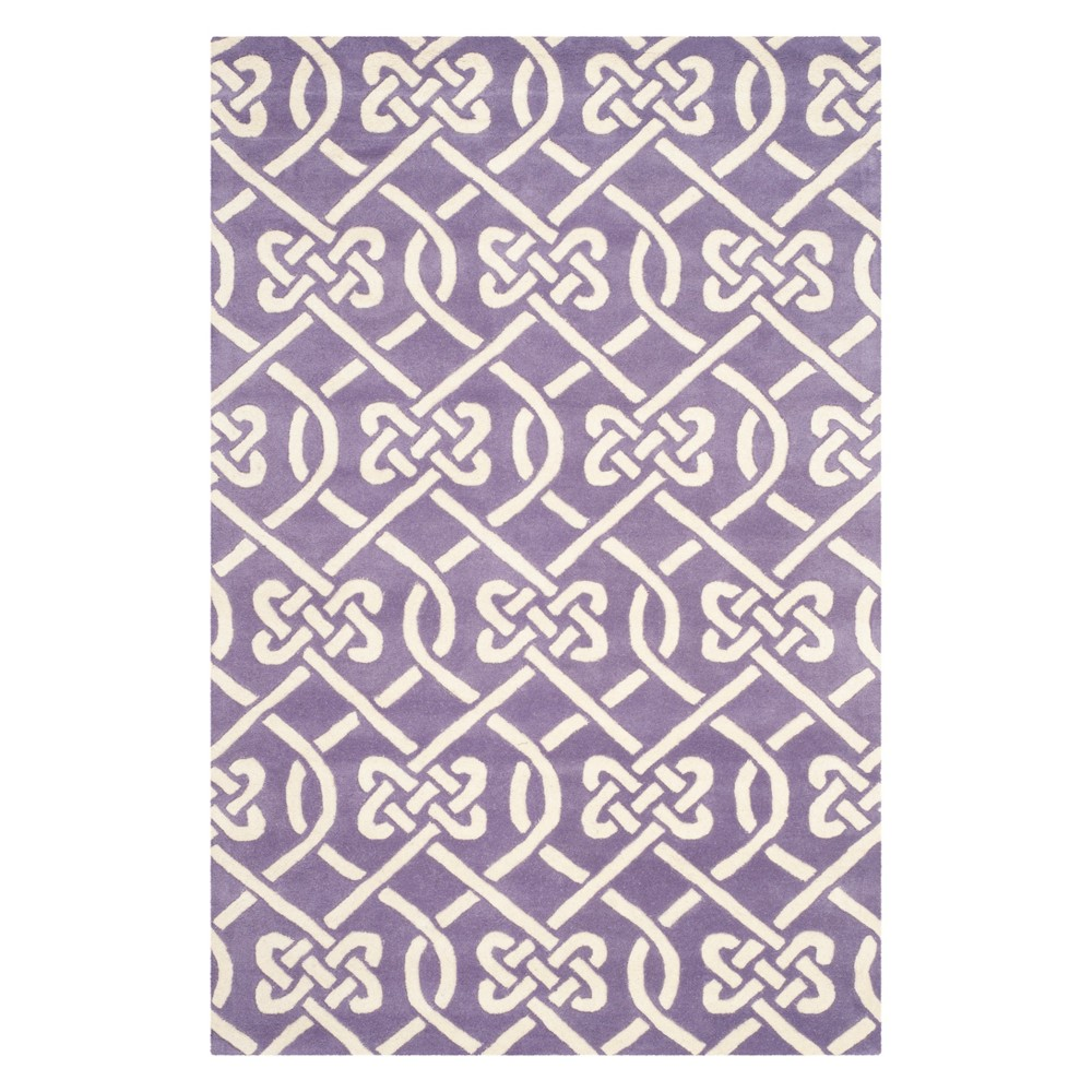 4'X6' Geometric Tufted Area Rug Purple/Ivory - Safavieh