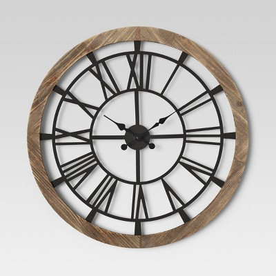 "32"" Wood and Metal Wall Clock Brown - Threshold™"