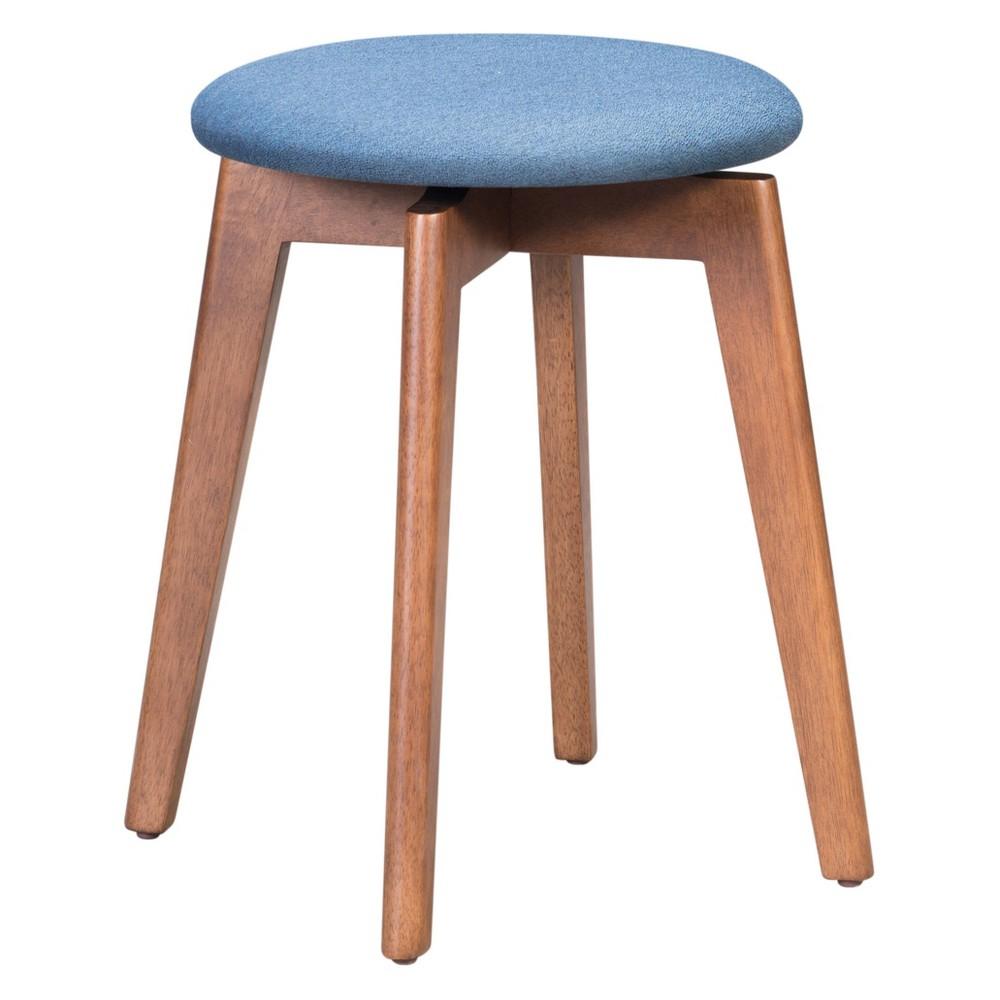 19 Mid-Century Modern Stool Set of 2 Walnut/Blue (Brown/Blue) - ZM Home