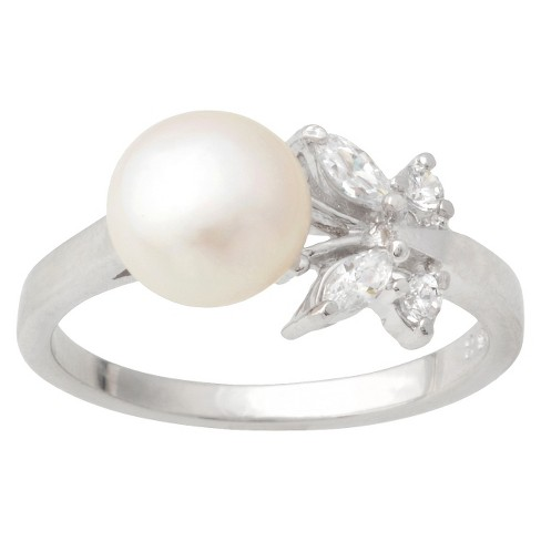 Tressa Collection Cubic Zirconia Butterfly Faux Pearl Ring in Sterling Silver - image 1 of 3