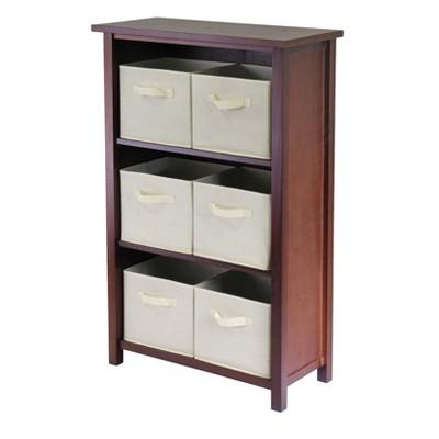 """42.99"""" 7pc Verona Set Storage Shelf with Folding Fabric Baskets Walnut - Winsome"""