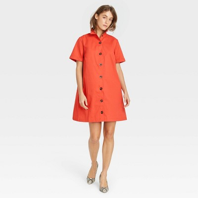 Women's Short Sleeve Button-Up Trapeze Dress - Who What Wear™