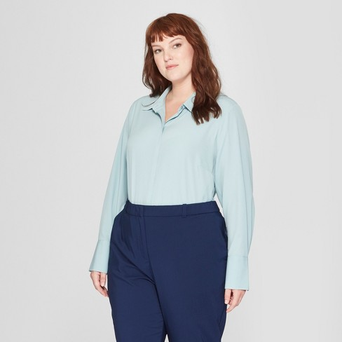 Womens Plus Size Long Sleeve Collared Button Down Blouse Prologue