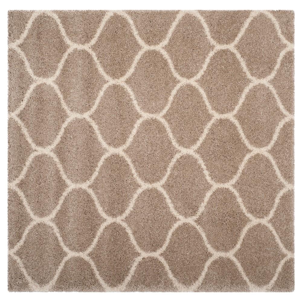 Beige/Ivory Abstract Shag/Flokati Loomed Square Area Rug - (7'X7') - Safavieh