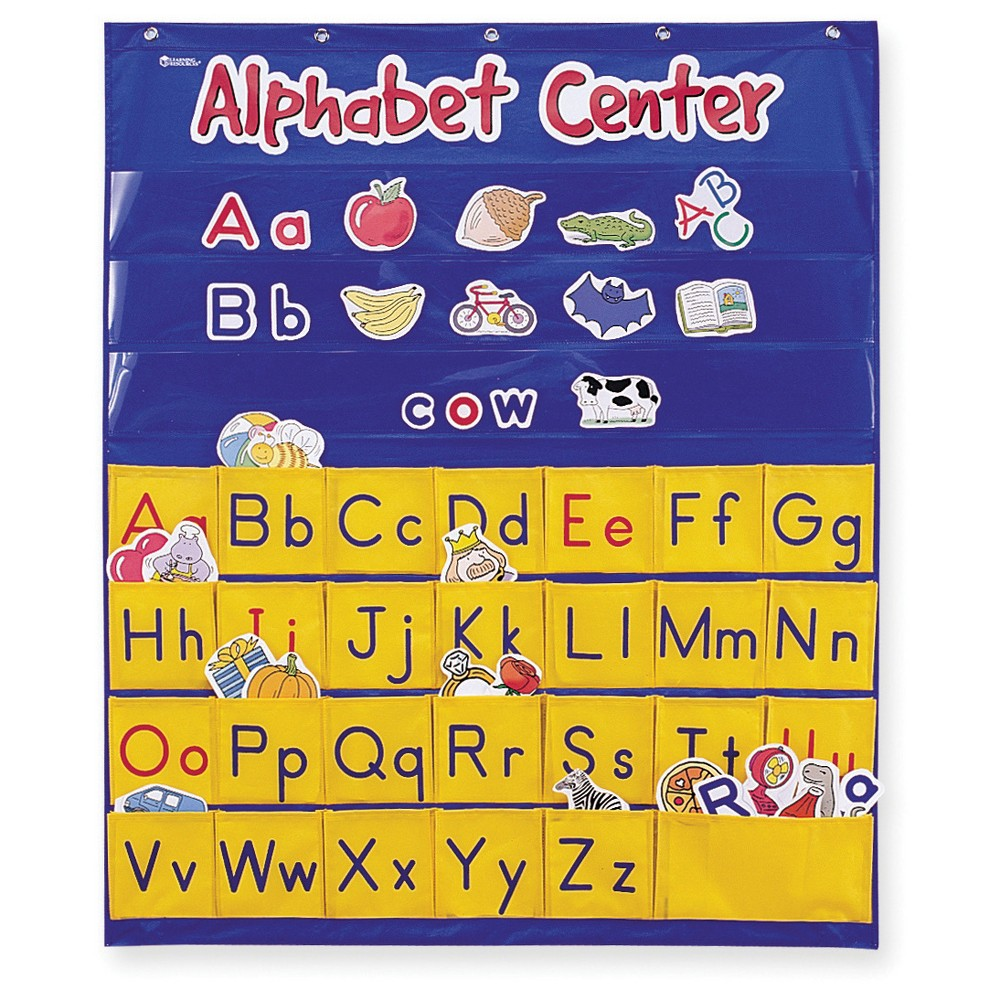 Learning Resources Alphabet Center Pocket Chart The Learning Resources Alphabet Center Pocket Chart engages early learners in letter, word, and picture recognition! Bright colors, kid-friendly images, and active learning make this pocket chart the fun way to practice letter and sound identification, word building, spelling, and more. The Learning Resources Alphabet Center Pocket Chart Features: Nylon chart that measures 28 L x 34 H 156 die-cut, coated picture cards (picture on one side, word on the other) 52 die-cut uppercase and lowercase letter cards 4 blank cards for customization Grommets for hanging Activity Guide Gender: Unisex.
