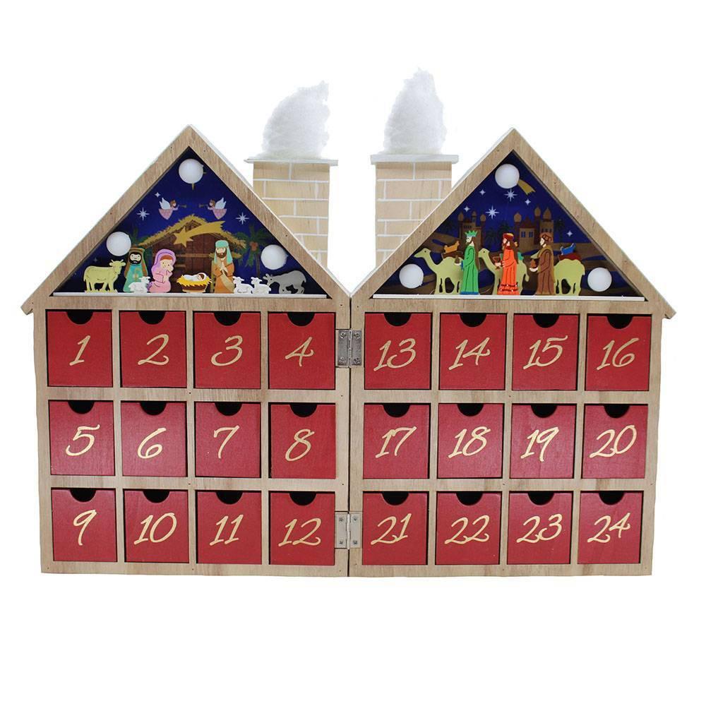 "Image of ""Kurt Adler 12"""" Battery Operated Wooden Nativity LED Advent Calendar"""