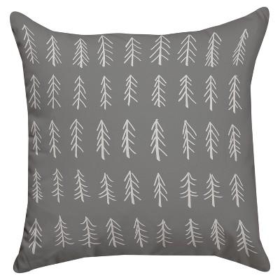 Gray Little Tree Throw Pillow (18 x18 )Thumbprintz