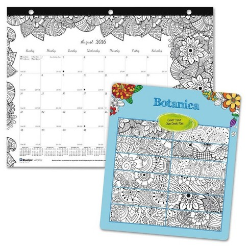 Blueline® Academic DoodlePlan Desk Pad Mini Calendar With Coloring Pages 11x8 1/2 2017-2018 - image 1 of 5
