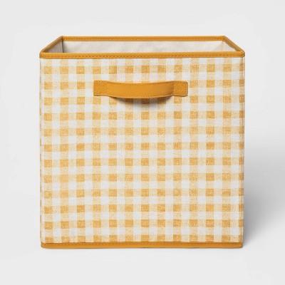 """13"""" Fabric Gingham Storage Bin Yellow - Pillowfort™"""