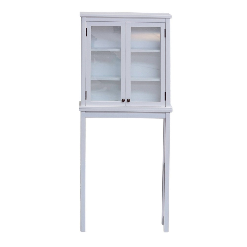 Image of Dorset Over The Toilet Space Saver Storage with Glass Doors Upper Cabinet White - Alaterre Furniture