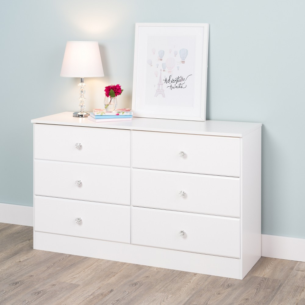Astrid 6 Drawer Dresser with Crystal Knobs White - Prepac