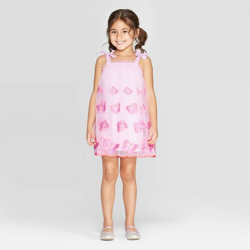 Toddler Girls' 'Butterfly Mesh' Wow A-Line Dress - Cat & Jack™ Pink - image 1 of 3