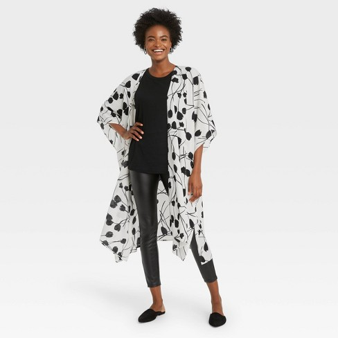 Women's Floral Print Wrap Jacket - A New Day™ Cream - image 1 of 2