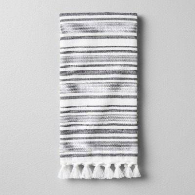 Hand Towel Engineered Stripe - True White / Ebony - Hearth & Hand™ with Magnolia
