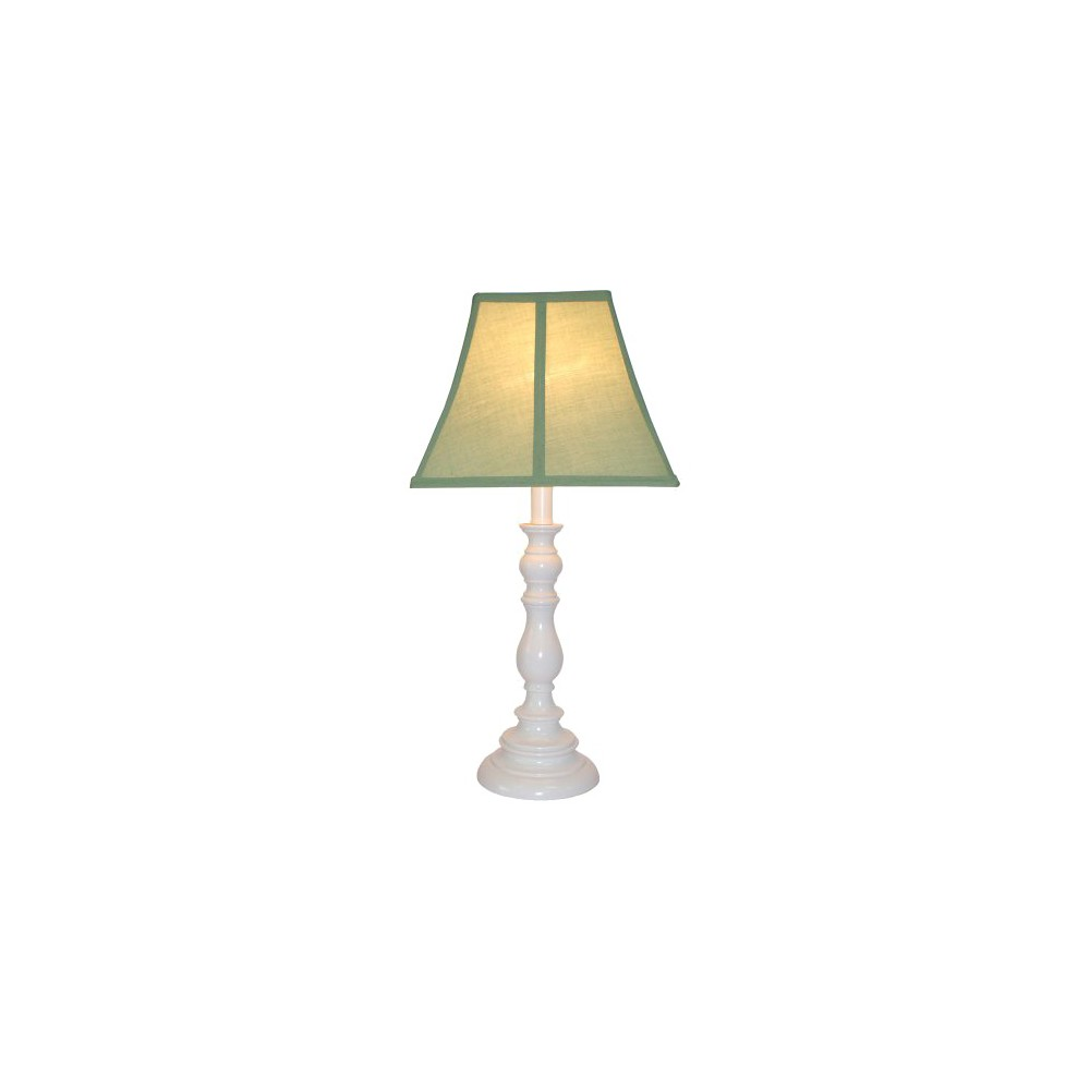 Image of White Resin Table Lamp - Sage (Green)