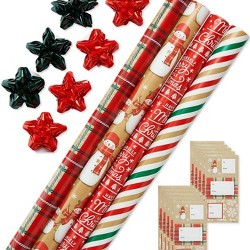 4ct Snowman Gift Wrap - American Greetings