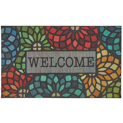 """1'6""""x2'6"""" Doorscapes Mat Welcome Stained Glass Floret - Mohawk"""